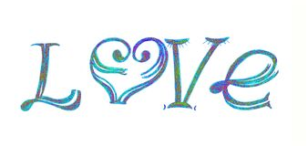 Η αγάπη ` επιγραφής ` πολύχρωμη ελεύθερη απεικόνιση δικαιώματος