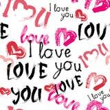 Η αγάπη εσείς διαμορφώνει με το άνευ ραφής υπόβαθρο ημέρας βαλεντίνων Grunge καρδιών Στοκ Εικόνες