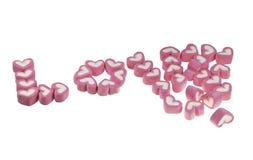 Η αγάπη η διατύπωση από marshmallows στοκ εικόνες με δικαίωμα ελεύθερης χρήσης