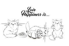 Η αγάπη και η ευτυχία είναι Ένα σύνολο απεικονίσεων με τις χαριτωμένες γάτες ελεύθερη απεικόνιση δικαιώματος