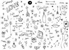 Η αγάπη και η ημέρα Vlentine ` s doodle θέτουν Ελεύθερη απεικόνιση δικαιώματος
