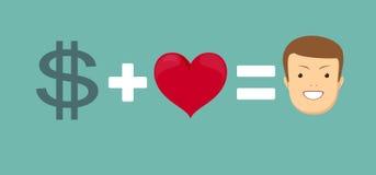 Η αγάπη και τα χρήματα σας κάνουν ευτυχησμένους Στοκ εικόνες με δικαίωμα ελεύθερης χρήσης
