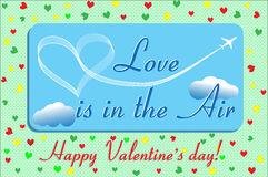 Η αγάπη καρτών βαλεντίνων είναι στον αέρα Στοκ φωτογραφία με δικαίωμα ελεύθερης χρήσης
