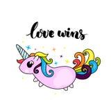 Η αγάπη κερδίζει - lgbt σύνθημα υπερηφάνειας και χαριτωμένος χαρακτήρας μονοκέρων με την τρίχα ουράνιων τόξων ελεύθερη απεικόνιση δικαιώματος