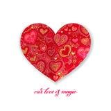 Η αγάπη μας είναι μαγικό σχέδιο καλλιγραφίας με την κόκκινη μορφή καρδιών εγγράφου διανυσματική απεικόνιση