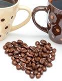 Η αγάπη φασολιών καφέ δείχνει το ζεστό ποτό και φρέσκος στοκ φωτογραφία με δικαίωμα ελεύθερης χρήσης