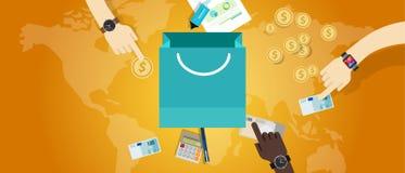 Η αγορά εμπορίου εμπορίου έννοιας τιμολόγησης τιμών αγοράζει τα χρήματα διανυσματική απεικόνιση