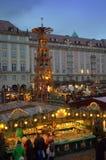 Η αγορά Christmastime στέκεται τη Δρέσδη Στοκ Εικόνες