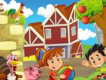 Η αγροτική απεικόνιση με τα παιδιά - πολλά διαφορετικά στοιχεία Στοκ φωτογραφία με δικαίωμα ελεύθερης χρήσης