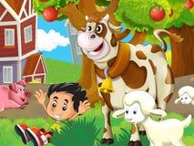 Η αγροτική απεικόνιση με το παιδί - πολλά διαφορετικά στοιχεία Στοκ Εικόνες