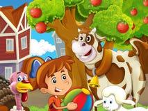 Η αγροτική απεικόνιση με το παιδί - πολλά διαφορετικά στοιχεία Στοκ Φωτογραφίες
