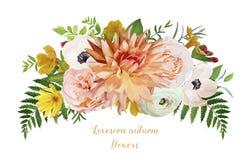 Η αερώδης χαλαρή ανθοδέσμη στεφανιών λουλουδιών του ρόδινου κήπου αυξήθηκε διανυσματική απεικόνιση