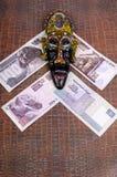 Η αιγυπτιακή μάσκα βρίσκεται στις αιγυπτιακές λίβρες Στοκ Εικόνες