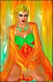 Η αιγυπτιακή πριγκήπισσα στα πορτοκαλιά μετάξια και σμαραγδένιος πράσινος με τα όμορφα καλλυντικά μόδας, αποτελούν και χρυσή κορώ Στοκ Φωτογραφίες