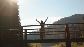 Η αινιγματική νύμφη νέων κοριτσιών που στέκεται στην ξύλινη γέφυρα πέρα από τον ποταμό στα Καρπάθια βουνά και απολαμβάνει το ηλιο απόθεμα βίντεο