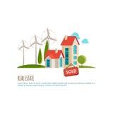 Η ακίνητη περιουσία, αστικό τοπίο, πώλησε το σπίτι Στοκ Εικόνα