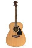 η ακουστική κιθάρα συγκομιδών σωμάτων ανασκόπησης περιλαμβάνει το απομονωμένο λευκό λαιμών Στοκ φωτογραφία με δικαίωμα ελεύθερης χρήσης