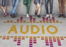 Η ακουστική ψηφιακή μουσική εξισωτών συντονίζει τη γραφική έννοια υγιών κυμάτων Στοκ Εικόνες