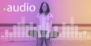 Η ακουστική ψηφιακή μουσική εξισωτών συντονίζει τη γραφική έννοια υγιών κυμάτων Στοκ Εικόνα