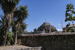 Η ακρόπολη ή το παλαιό φρούριο στην πόλη της Κέρκυρας στο ελληνικό νησί της Κέρκυρας Στοκ Φωτογραφία