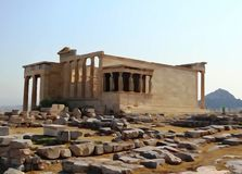 Η ακρόπολη Αθήνα Ελλάδα ναών Erechtheum Στοκ Φωτογραφίες