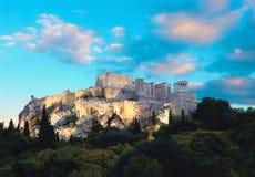 Η ακρόπολη της Αθήνας, Ελλάδα, αμέσως μετά από το ηλιοβασίλεμα Στοκ Εικόνες