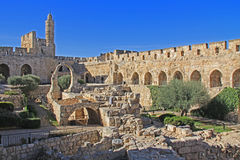 Η ακρόπολη της Ιερουσαλήμ ή ο πύργος του Δαβίδ στοκ φωτογραφία με δικαίωμα ελεύθερης χρήσης