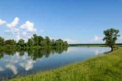Η ακτή του ποταμού μια ηλιόλουστη θερινή ημέρα Στοκ Εικόνες