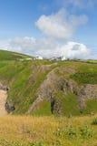 Η ακτή Rhossili από την παραλία και τα σκουλήκια διευθύνουν τη νότια Ουαλία UK χερσονήσων Gower Στοκ Εικόνα