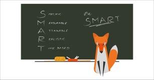 Η αλεπού Sittin μπροστά από τον πίνακα με το κείμενο που γράφεται από την κιμωλία Κριτήρια του cSmart για τους στόχους σας Τεχνικ διανυσματική απεικόνιση