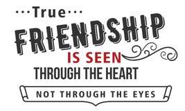 Η αληθινή φιλία βλέπει μέσω της καρδιάς όχι μέσω των ματιών διανυσματική απεικόνιση