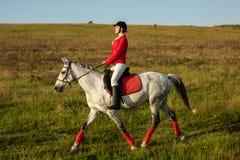 Η αμαζώνα σε ένα κόκκινο άλογο Αναβάτης σε ένα άλογο βόρειο pyatigorsk αλόγων ιπποδρόμων Καύκασου που συναγωνίζεται τη Ρωσία Αναβ Στοκ Φωτογραφία