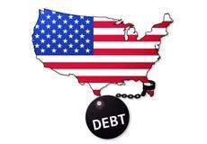 Η Αμερική είναι φυλακισμένος χρέους στοκ εικόνες