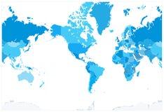 Η Αμερική κεντροθέτησε τα πολιτικά μπλε χρώματα παγκόσμιων χαρτών κανένα κείμενο ελεύθερη απεικόνιση δικαιώματος
