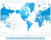 Η Αμερική κεντροθέτησε το μπλε χρώμα παγκόσμιων χαρτών και τα επίπεδα εικονίδια Στοκ φωτογραφία με δικαίωμα ελεύθερης χρήσης
