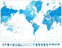 Η Αμερική κεντροθέτησε το μπλε χρώμα παγκόσμιων χαρτών και τα τρισδιάστατα στιλπνά εικονίδια Στοκ φωτογραφία με δικαίωμα ελεύθερης χρήσης
