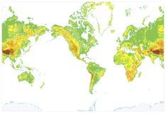 Η Αμερική το λεπτομερή φυσικό παγκόσμιο χάρτη που απομονώθηκε κεντροθέτησε στο λευκό Στοκ Εικόνες