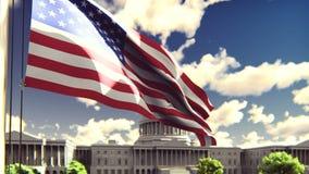 Η αμερικανική σημαία κυματίζει στον αέρα μια ηλιόλουστη ημέρα ενάντια στο μπλε ουρανό και το Capitol Το σύμβολο της Αμερικής και απόθεμα βίντεο