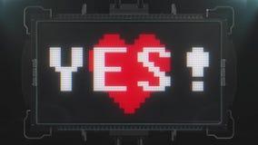 Η αναδρομική videogame ΝΑΙ καρδιά κειμένων λέξης κτύπησε στη φουτουριστική ζωτικότητα οθόνης παρέμβασης δυσλειτουργίας TV τον άνε διανυσματική απεικόνιση