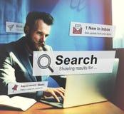 Η αναζήτηση που ψάχνει την εξερεύνηση ανακαλύπτει επιθεωρεί την εύρεση της έννοιας στοκ εικόνα