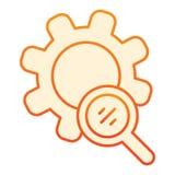 Η αναζήτηση συνδέει το επίπεδο εικονίδιο Πορτοκαλιά εικονίδια Magnifier και ανάπτυξης στο καθιερώνον τη μόδα επίπεδο ύφος Σχέδιο  διανυσματική απεικόνιση