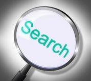 Η αναζήτηση Magnifier σημαίνει τα στοιχεία και την ενίσχυση διανυσματική απεικόνιση