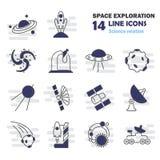 Η ανακάλυψη και η εξερεύνηση των διαστημικών εικονιδίων γραμμών καθορισμένων Στοκ φωτογραφίες με δικαίωμα ελεύθερης χρήσης