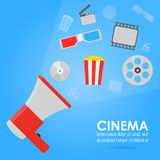 Η ανακοίνωση της ταινίας Εισιτήρια, popcorn, ταινία ταινιών Απεικόνιση αποθεμάτων