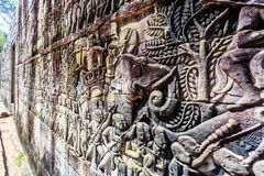 Η ανακούφιση Bas στον αρχαίο ναό Bayon σε Angkor Thom, Siem συγκεντρώνει, ασβέστιο Στοκ Φωτογραφίες