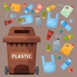 Η ανακυκλώνοντας διοικητική βιομηχανία ροδών απορριμμάτων στοιχείων απορριμάτων πλαστική χρησιμοποιεί τα απόβλητα μπορεί διανυσμα απεικόνιση αποθεμάτων