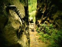 Η αναρρίχηση και το irone σκαλοπατιών έστριψαν το σχοινί, πορεία ορειβατών στο βουνό μέσω του ferrata Στοκ φωτογραφία με δικαίωμα ελεύθερης χρήσης