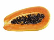 η ανασκόπηση που ψαλιδίζει τους κομμένους καρπούς που η μισή εικόνα περιλαμβάνει papaya το μονοπάτι αφαιρεί το λευκό Στοκ εικόνα με δικαίωμα ελεύθερης χρήσης