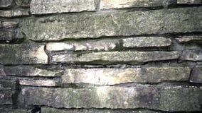 η ανασκόπηση χρωματίζει grunge τον τοίχο πετρών Μετακινηθείτε τον πυροβολισμό της σύστασης τοίχων πετρών φιλμ μικρού μήκους