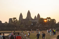 Η ανατολή σε Angkor Wat, Siem συγκεντρώνει την Καμπότζη Στοκ Φωτογραφία